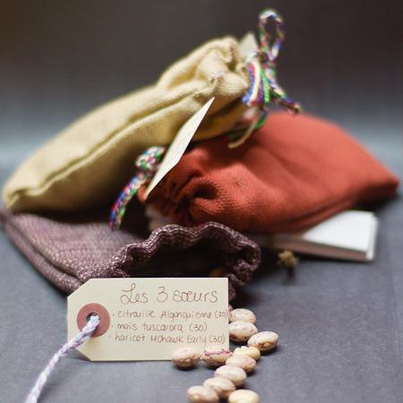 Trio 3 soeurs (Citrouille Algonquienne (Cucurbita pepo), Maïs à farine Tuscarora (Zea mays), Haricot grimpant Mohawk Early (Phaseolus vulgarism)) | Jardin des vie-la-joie | Artisan semencier